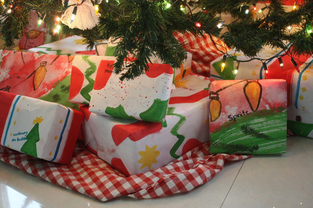 Wrapped gifts under tree - jimmiehomeschoolmom